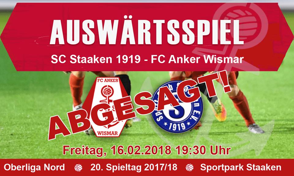 Auswärtsspiel gegen SC Staaken abgesagt