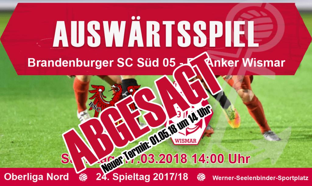 Spiel gegen Brandenburger SC Süd 05 abgesagt