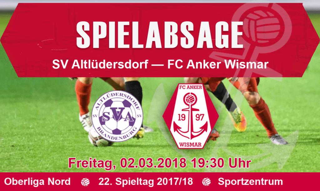 Spielabsage gegen SV Altlüdersdorf